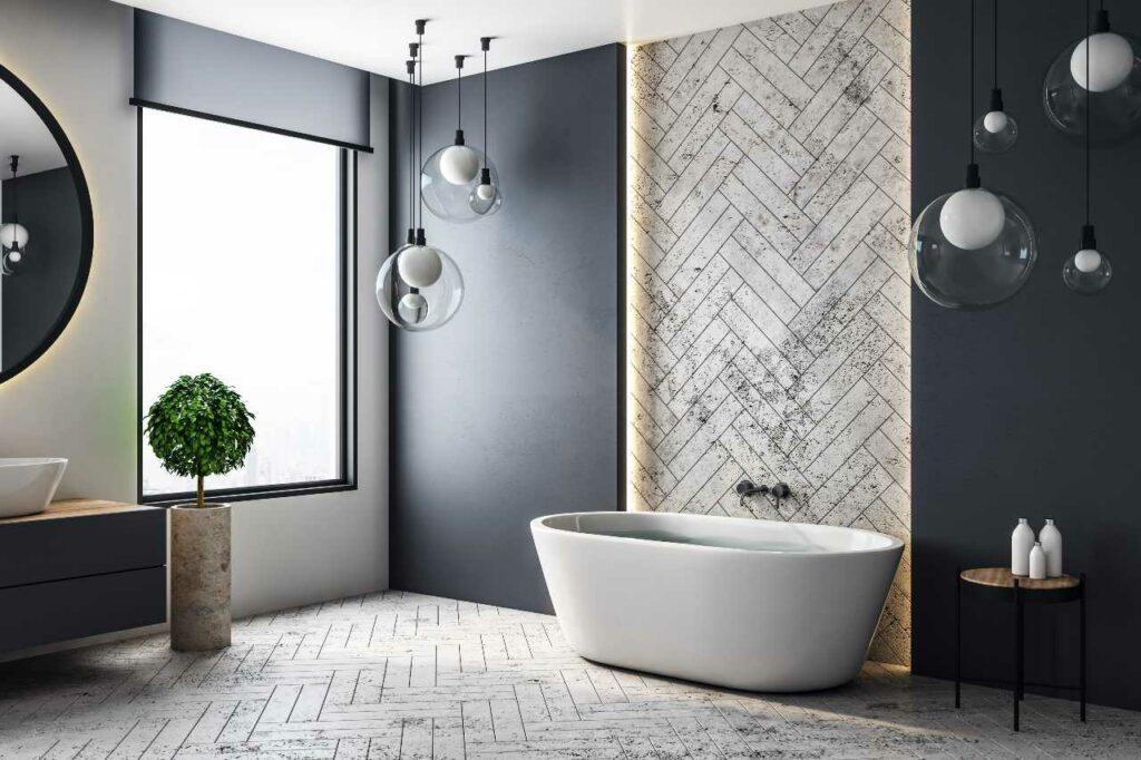 Ściana łazienki bez płytek - pomysły
